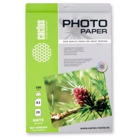 Фото Самоклеящаяся бумага фотобумага Cactus CS-MSA310020 матовая А3 100 г/м2 20 листов. Интернет-магазин Vseinet.ru Пенза