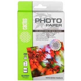Фото Фотобумага Cactus CS-GA6200100 глянцевая 10x15 200 г/м2 100 листов. Интернет-магазин Vseinet.ru Пенза