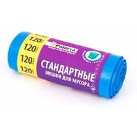 Мешки для мусора 120л стандартные., завязки, синие, 10шт в рулоне PATERRA (106-058). Интернет-магазин Vseinet.ru Пенза