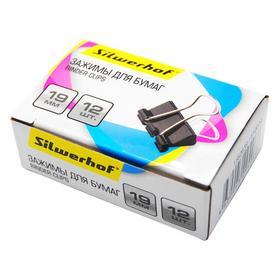 Фото Зажимы Silwerhof 510014 сталь 19мм черный (упак.:12шт) картонная коробка. Интернет-магазин Vseinet.ru Пенза