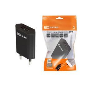 Фото Сетевое зарядное устройство, СЗУ 2, 1 А, 1 USB, черный, TDM (SQ1810-0002). Интернет-магазин Vseinet.ru Пенза