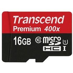 Карта памяти Transcend 400x (Premium) micro SDHC 16Гб, Class 10 UHS-I U1(TS16GUSDCU1)