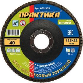 Фото Круг лепестковый шлифовальный ПРАКТИКА 125 х 22 мм Р 40 (1шт.) серия Профи 032-355. Интернет-магазин Vseinet.ru Пенза