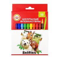 Фото Упаковка фломастеров KOH-I-NOOR Selfies 1002, 12 цв., коробка с европодвесом [771002ab22ks]. Интернет-магазин Vseinet.ru Пенза
