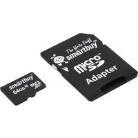 Карта памяти SmartBuy micro SDHC 64Гб, Class 10, адаптер SD(SB64GBSDCL10-01). Интернет-магазин Vseinet.ru Пенза