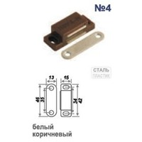 Защелка магнитная №4 (42мм) (белая) арт.9496 Нора-М. Интернет-магазин Vseinet.ru Пенза