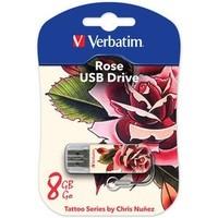 Флешка VERBATIM Store'n'Go Mini Tattoo 8Гб,  USB 2.0, белый с рисунком «Роза» (49881). Интернет-магазин Vseinet.ru Пенза