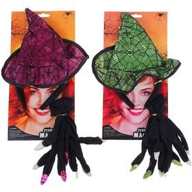 """Карнавальный набор """"Ведьма, 2 предмета: ободок, перчатки, цвета МИКС 332963"""