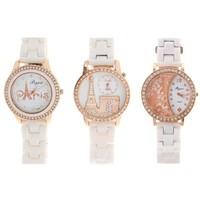 Часы женские белые, обод со стразами, микс 1073921. Интернет-магазин Vseinet.ru Пенза