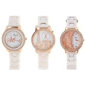 Часы женские белые, обод со стразами, микс 1073921
