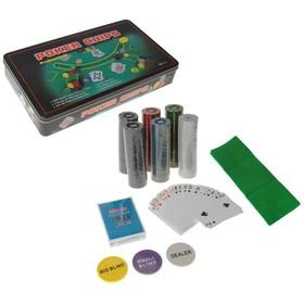 Набор д/ покера в мет.кор. 300 фишек с/ном. 4гр, 2 кол. карт бум. х54шт, сукно 60х90см,19,5х3 637896