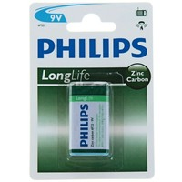 батарейка солевая Philips крона блистер 6F22-1BL LONG LIFE    824074, Philips. Интернет-магазин Vseinet.ru Пенза