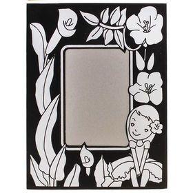 """Фоторамка """"Девочка и цветы"""" контурная раскраска с подставкой"""